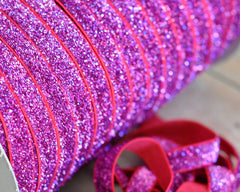 Regular Glitter Elastics by the Yard-Magenta