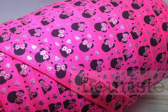"Printed Fold Over Elastic-5/8"" Width Mouse Head- Neon Pink"