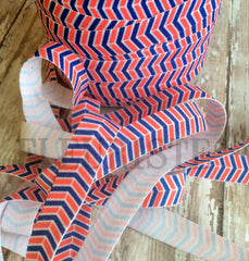 "Fourth of July Patterned Fold Over Elastic-5/8"" Width-Nautical Chevron"