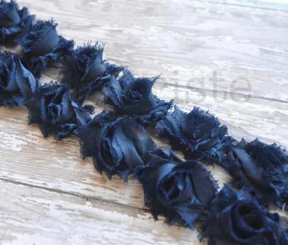 Petite Solid Shabby Rose Trim-Navy