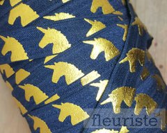 "Fold Over Elastic-5/8"" Width- Gold Unicorn on Navy"