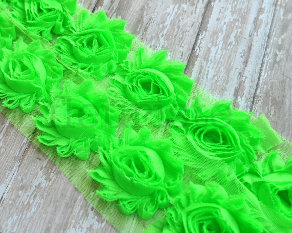 Solid Shabby Rose Trim-Neon Lime