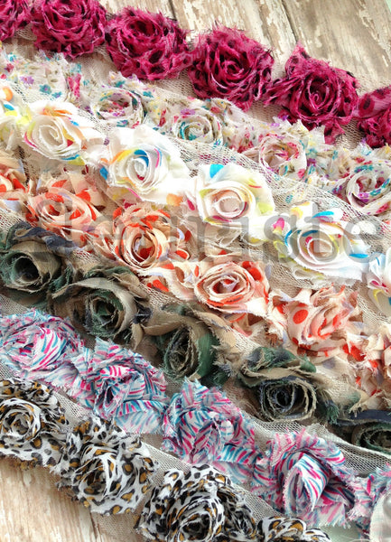 Petite Patterned Shabby Rose Trim-Pink Blue Jungle Stripes