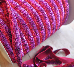 Ombre Glitter Elastic by the Yard-Magenta Ombre