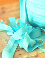 "Solid 5/8"" Foldover Elastic by the Yard-Pale Aqua"