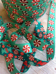 "5/8"" REVERSIBLE Foldover Elastic by the Yard-Peppermints"