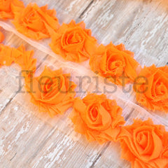 Petite Solid Shabby Rose Trim-Bright Orange