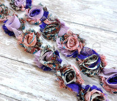 Petite Patterned Shabby Rose Trim-Purple Breeze