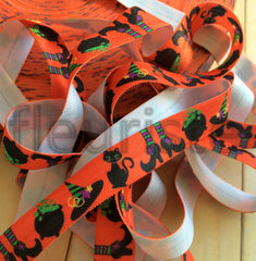 "Halloween Fold Over Elastic-5/8"" Width-Cauldrons on Orange"