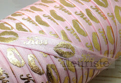 "St Valentines Patterned Fold Over Elastic-5/8"" Width-Valentine's Day Gold Kiss on Pink"