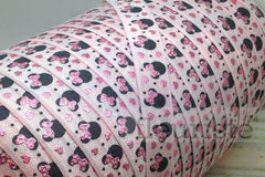 "Printed Fold Over Elastic-5/8"" Width Mouse Head- pink"
