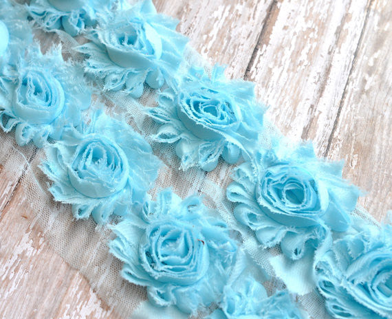 Solid Shabby Rose Trim-Powder Blue