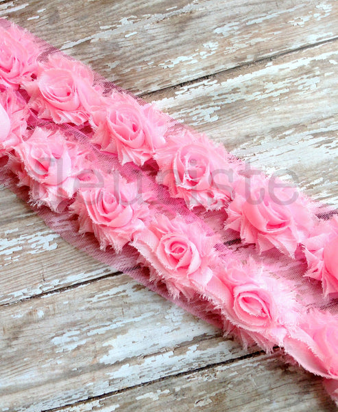 Petite Solid Shabby Rose Trim-Light Pink