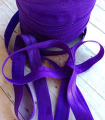 "Solid 5/8"" Foldover Elastic by the Yard-Purple"