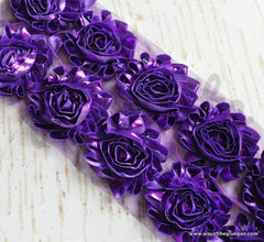 Metallic Shabby Rose Trim - By the Yard - Purple