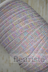 Foldover Elastic by the Yard- Shiny Sparkly Rainbow Elastic
