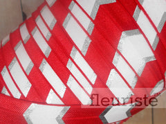 "Red Silver Chunky Chevron Metallic Printed Fold Over Elastic-5/8"" Width"