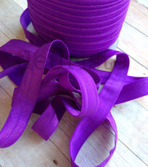 "Solid 5/8"" Foldover Elastic by the Yard-Regal Purple"