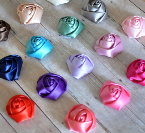 Rolled Satin Rosettes-Pick Your Color