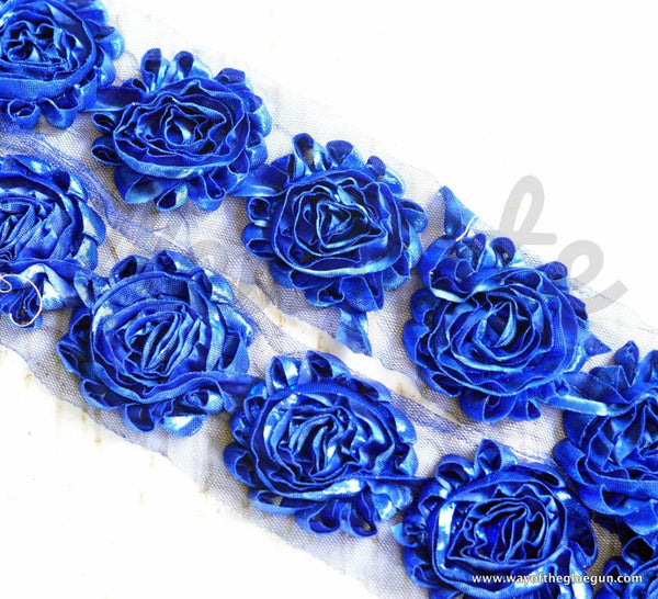 Metallic Shabby Rose Trim - By the Yard - Royal Blue