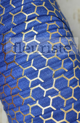 "Metallic Printed Fold Over Elastic-5/8"" Width Royal Blue Gold Honeycomb"