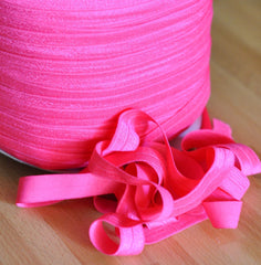"Solid 5/8"" Foldover Elastic by the Yard-Shocking Hot Pink"