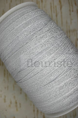 Foldover Elastic by the Yard- Shiny Sparkly Silver Elastic