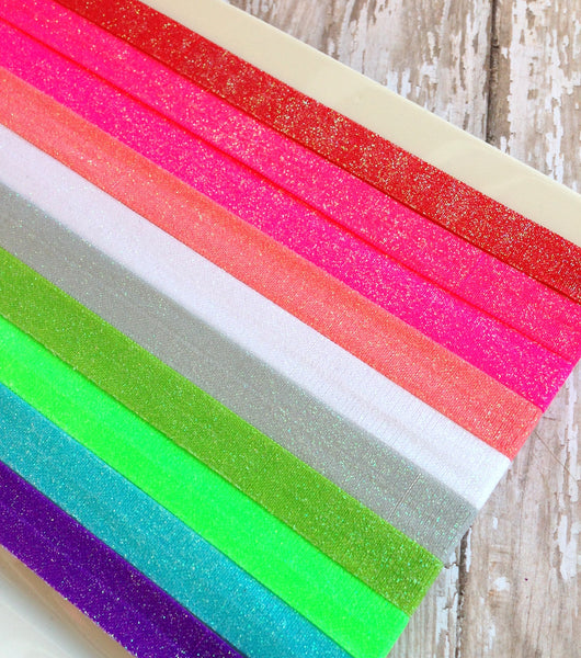 Sparkle Foldover Elastic by the Yard-Pick Your Color