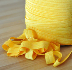 "Solid 5/8"" Foldover Elastic by the Yard-Sunny"