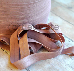 "Solid 5/8"" Foldover Elastic by the Yard-Taupe Mauve"