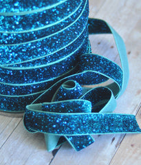 Regular Glitter Elastics by the Yard-Turquoise