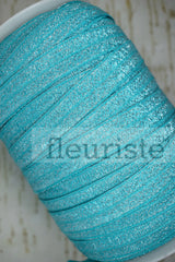 Foldover Elastic by the Yard- Shiny Sparkly Turquoise Elastic