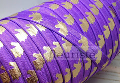 "Fold Over Elastic-5/8"" Width- Gold Unicorn on Purple"