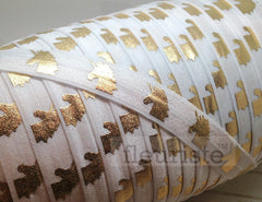 "Fold Over Elastic-5/8"" Width- Gold Unicorn on White"