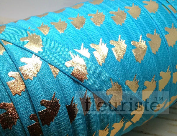"Fold Over Elastic-5/8"" Width- Gold Unicorn on Turquoise"