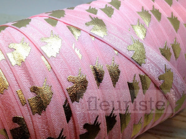 "Fold Over Elastic-5/8"" Width- Gold Unicorn on Pink"