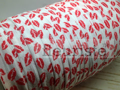 "St Valentines Patterned Fold Over Elastic-5/8"" Width Red Lips on White"