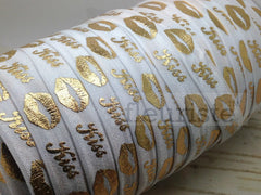 "St Valentines Patterned Fold Over Elastic-5/8"" Width-Valentine's Day Gold Kiss on White"
