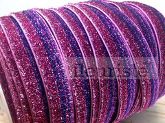 Ombre Glitter Elastic by the Yard- Fuchsia/Blue/Lavender Ombre