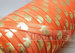 "Fold Over Elastic-5/8"" Width- Gold Unicorn on Orange"