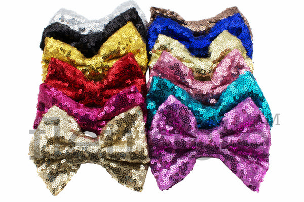 "X-Large Sequin Glitter Large Bows 7""  - Pick Your Color"