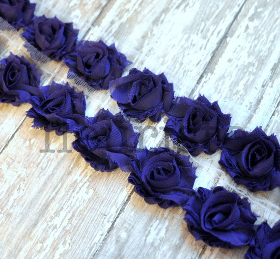 Petite Solid Shabby Rose Trim-Violet Purple