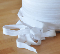 "Solid 5/8"" Foldover Elastic by the Yard-White"
