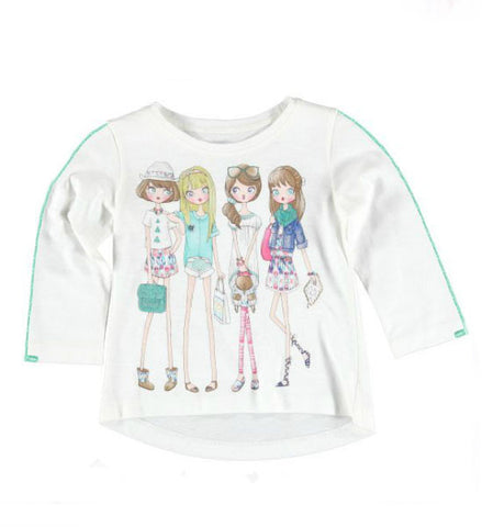 Mayoral Girls Long-Sleeve Graphic Top White Ocean Green