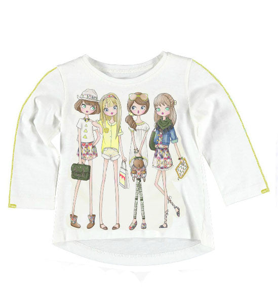 Mayoral Girls Long-Sleeve Graphic Top White Yellow - Brands For Kids