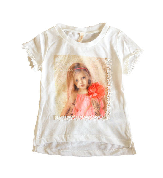 Mayoral Girls Romantic Printed Top Off-White - Brands For Kids