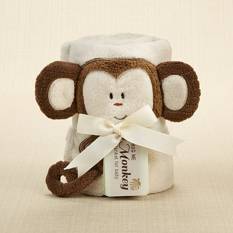 """Hug Me Monkey"" Plush Velour Baby Blanket"