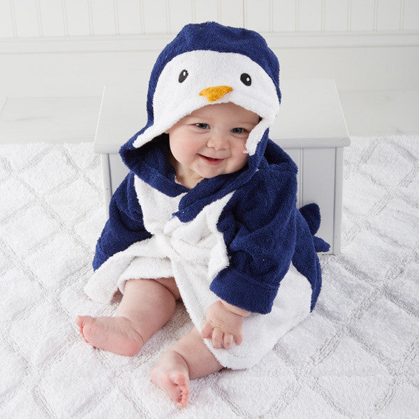 """Wash & Waddle"" Penguin Baby Hooded Spa Robe - Brands For Kids"