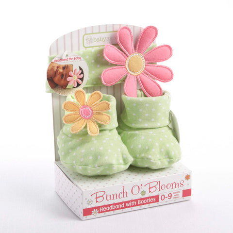 """Bunch O' Blooms"" Headband with Booties Gift Set"