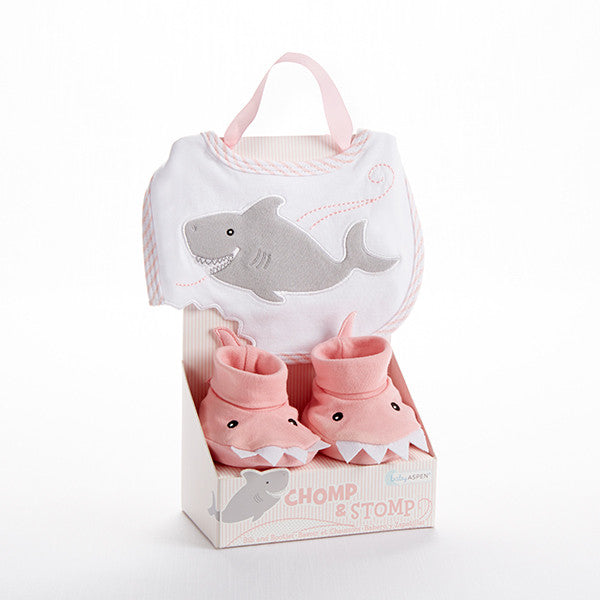 """Chomp & Stomp"" Shark Bib and Booties Gift Set For a Baby Girl - Brands For Kids"